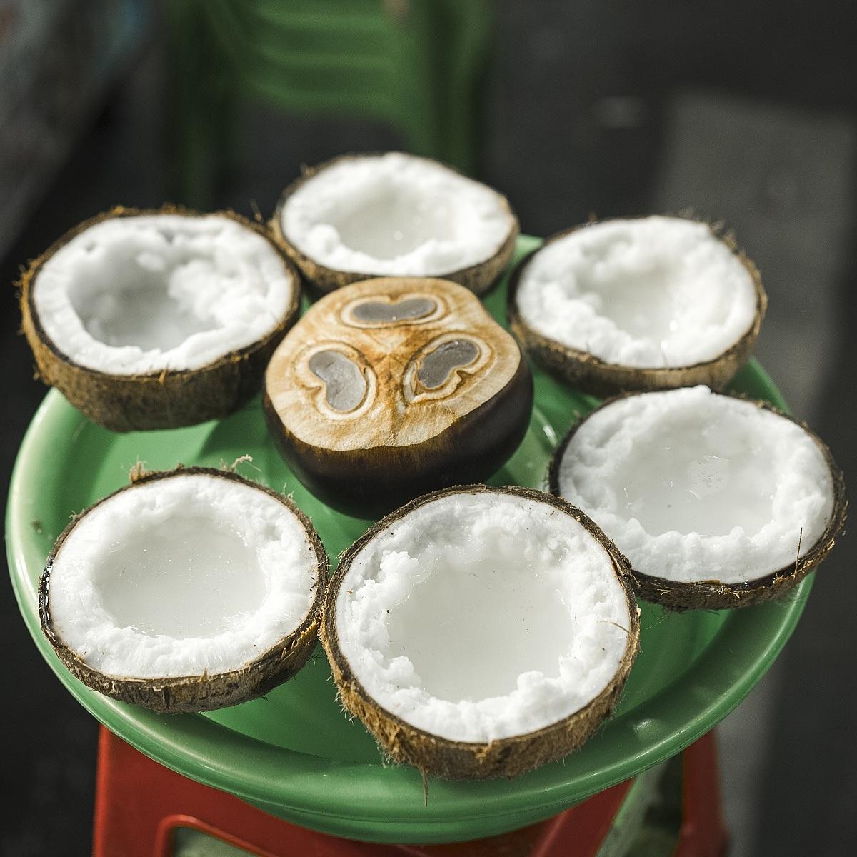 Một vòng ăn vặt buổi chiều tối tại chợ đêm Phú Quốc cũng là gợi ý của food blogger này. Một trong những món không thể bỏ qua là dừa sáp.