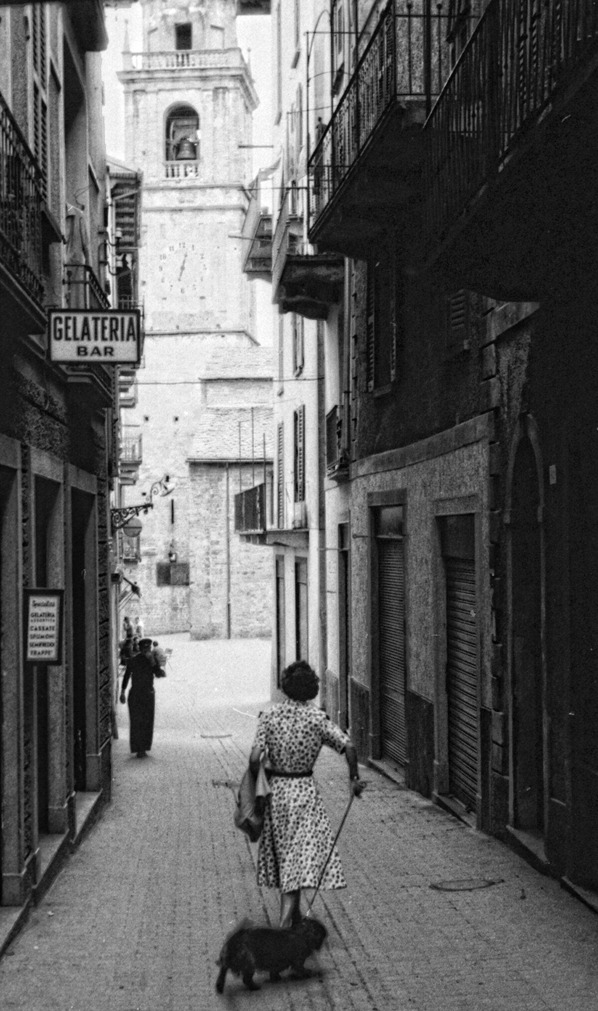 Người phụ nữ dắt chó đi dạo trên một con phố lát đá. Ảnh: Bộ sưu tập của William Fagan