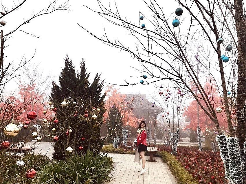 Ở ngôi làng, hoà chung với không gian tuyết trắng là sắc màu Giáng sinh rộn ràng, lấp lánh. Hàng nghìn quả châu long lanh được trang trí trên những hàng cây hai bên lối đi. Những tiểu cảnh Giáng sinh được kiến tạo kỳ công từ hoa tươi, và dây hoa trang trí như đưa du khách phiêu du vào một miền cổ tích nơi đỉnh trời Tây Bắc.