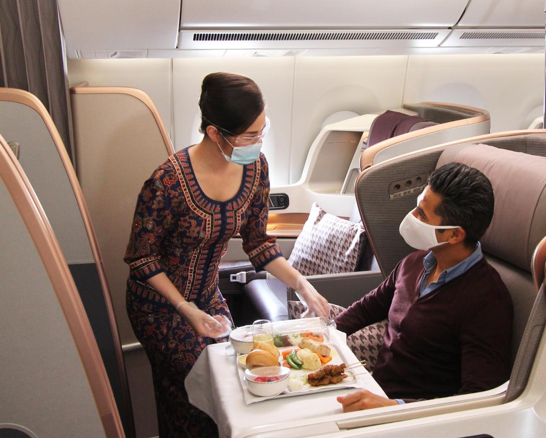 Dịch vụ hạng Thương gia trên máy bay Airbus A350 Singapore Airlines. Ảnh: Singapore Airlines.