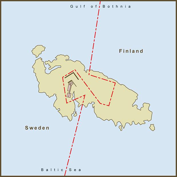 Đường biên giới chữ S kỳ lạ trên đảo Märket sau khi được vẽ lại để ngọn hải đăng có thể nằm tại phía lãnh thổ Phần Lan. Ảnh: amproehl