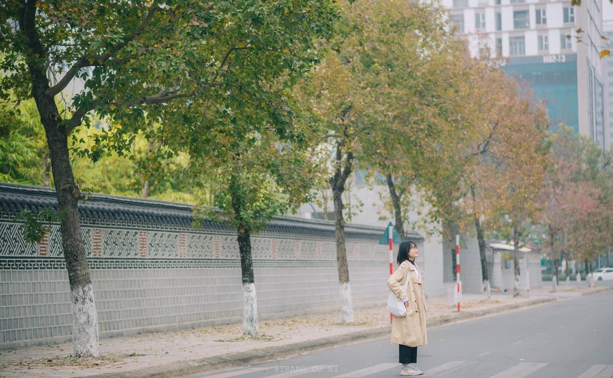 Khu vực có bức tường xám và mái ngói lưu ly là nơi chụp ảnh của nhiều du khách. Ảnh chụp ngày 15/1. Ảnh: Trang Phạm.