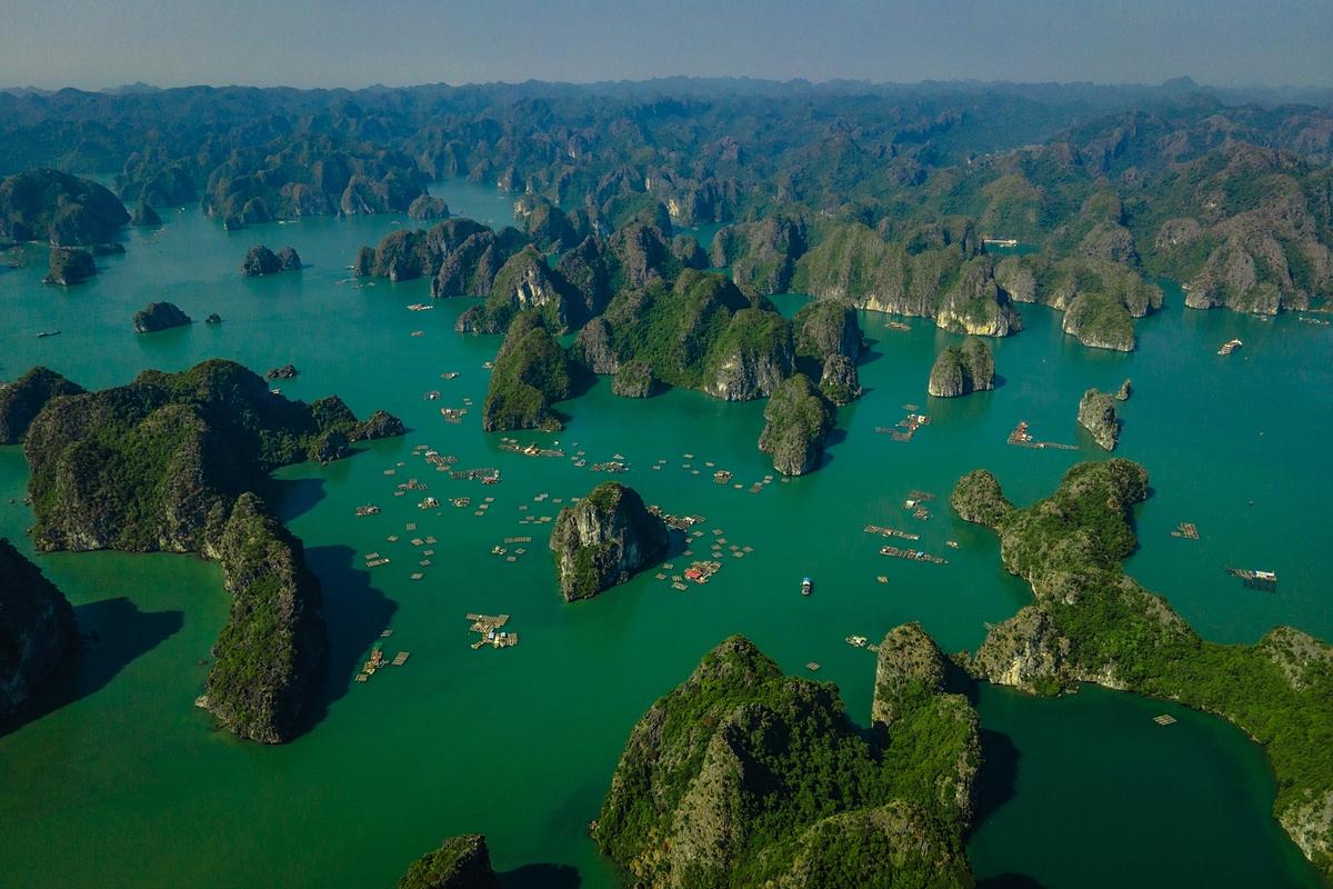 Vịnh Lan Hạ gồm 400 đảo lớn nhỏ được bao phủ màu xanh của cây cối và các thảm thực vật. Ảnh: Ngô Trần Hải An.