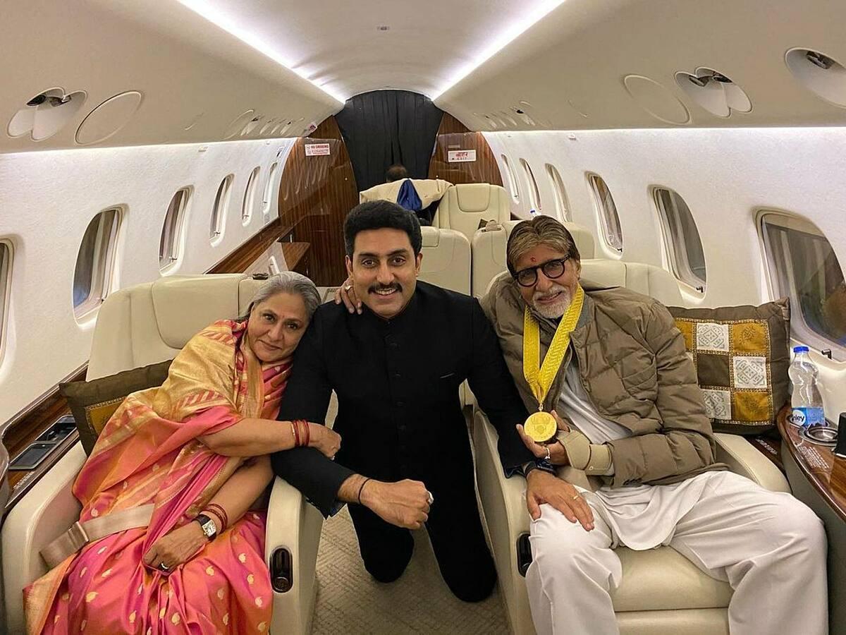 Nữ diễn viên Jaya Bachchan (trái) cùng con trai  Abhishek và diễn viên Amitabh Bachchan. Ảnh: Banchan/Instagram