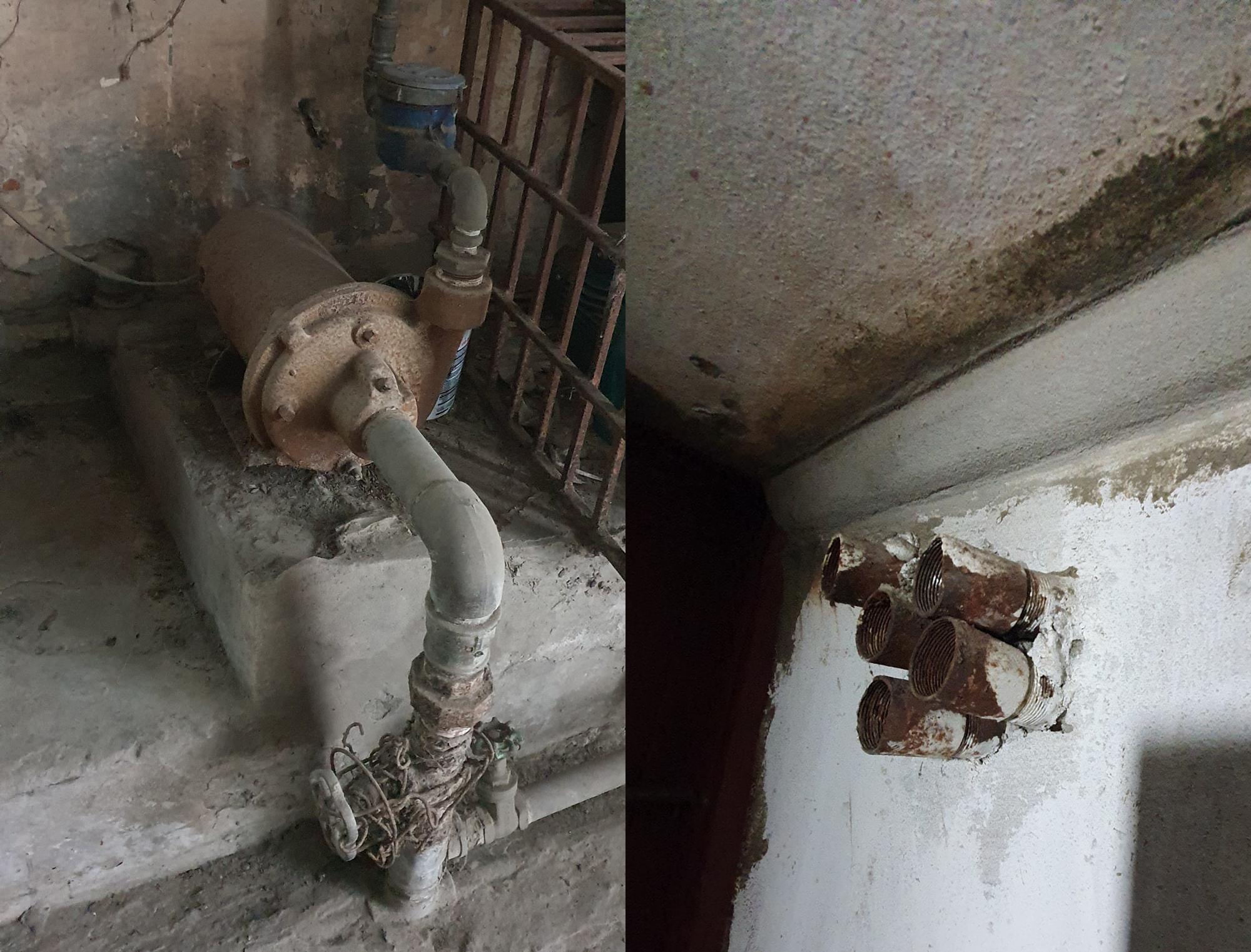 Máy bơi nước sản xuất tại Pháp từ thời Pháp thuộc đến này vẫn hoạt động (trái), và hệ thống điện được đi ngầm có ông ghen thép chôn trong tường, điện ngầm ở sàn nhà, thậm chí cả ồ điện âm sàn bằng đồng.