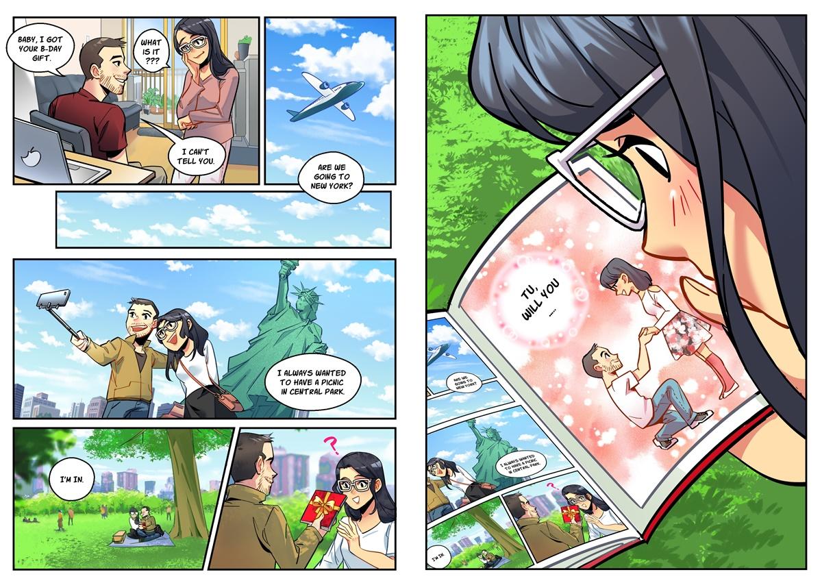 Nội dung truyện tranh cầu hôn Marcin dành tặng Thanh Tú. Ảnh: NVCC.