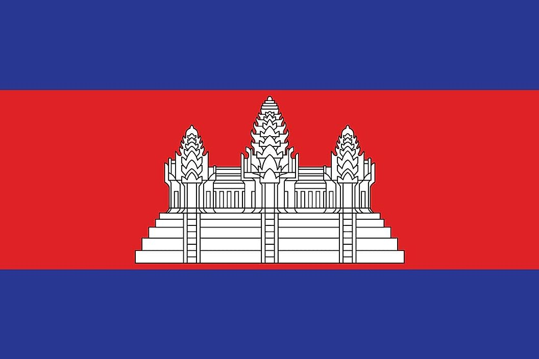 Campuchia là một trong số 5 nước có quốc kỳ in hình tòa nhà. 4 nước còn lại là Afghanistan, Bồ Đào Nha, Tây Ban Nha và San Mario, theo World Atlas. Ảnh: World atlas