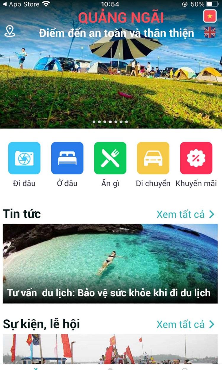 Giao diện phần mềm Du lịch Quảng Ngãi trên điện thoại iOS.