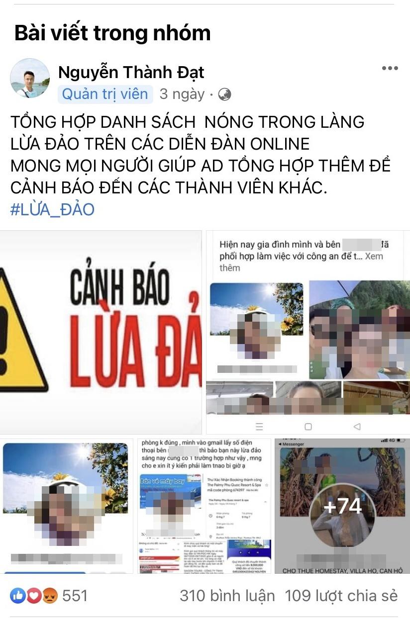 Bài đăng cảnh báo lừa đảo gần đây của anh Đạt trên nhóm thanh lý voucher với hình đăng hàng trăm tài khoản ảo lừa tiền cọc của du khách trên mạng xã hội.