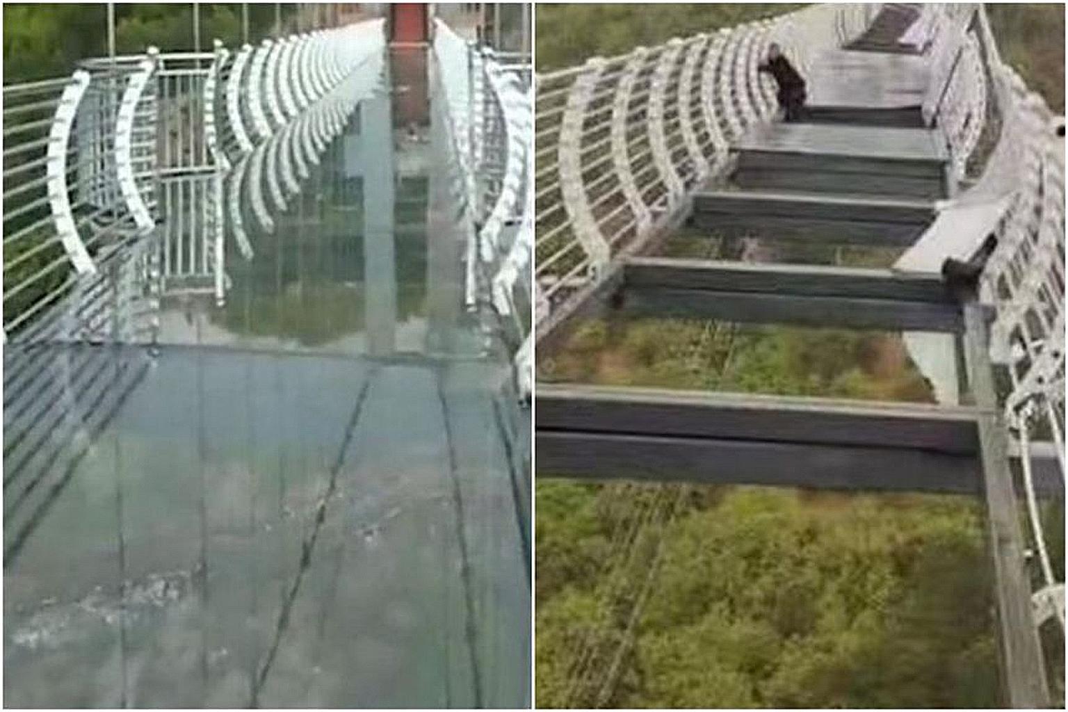 Một số mảnh kính trên cầu đã bị gió giật vỡ, khiến nam du khách mắc kẹt giữa cầu. Ảnh: Weibo