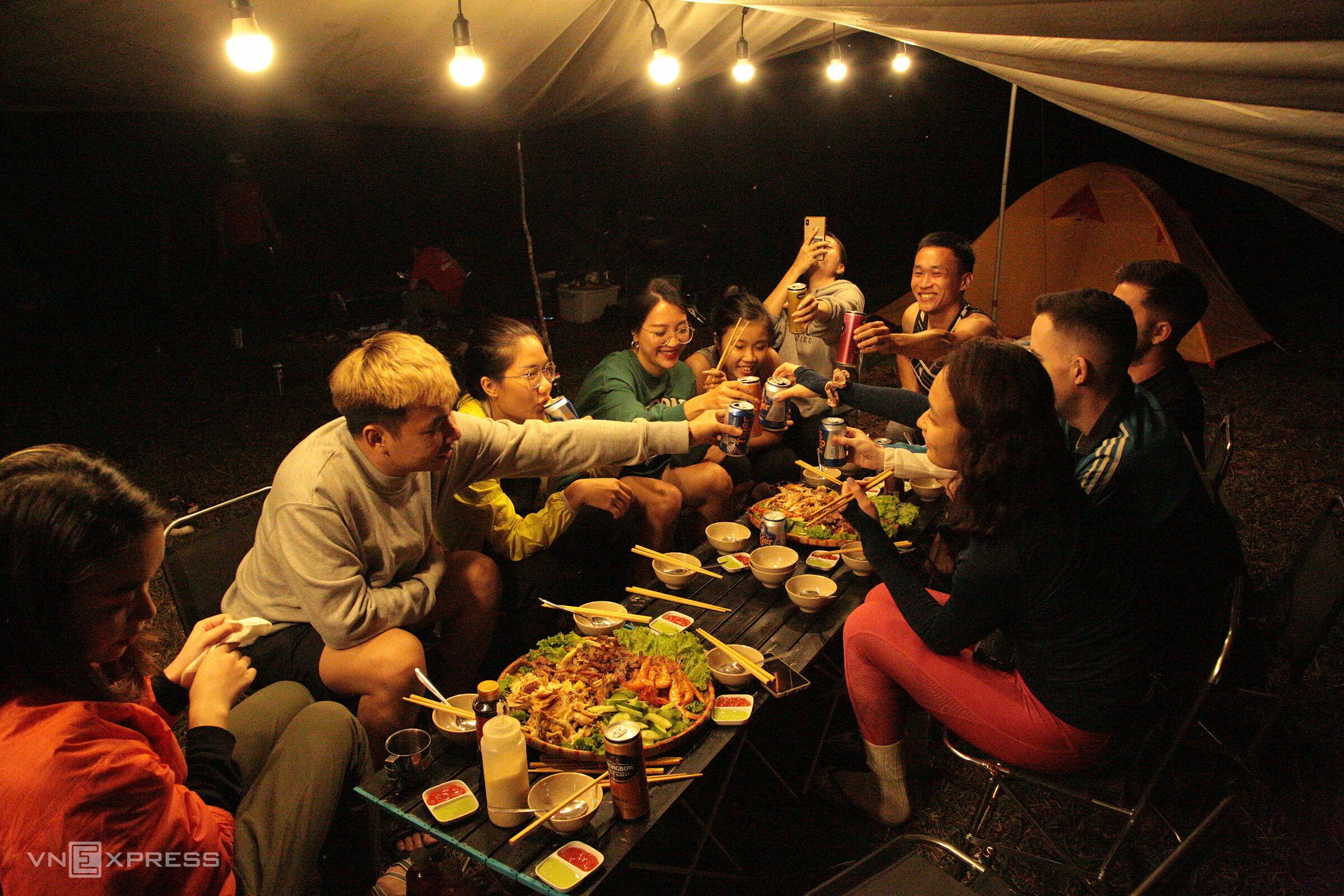 Điểm cắm trại thuộc Vườn quốc gia Bidoup Núi Bà. Ảnh: Thanh Hằng