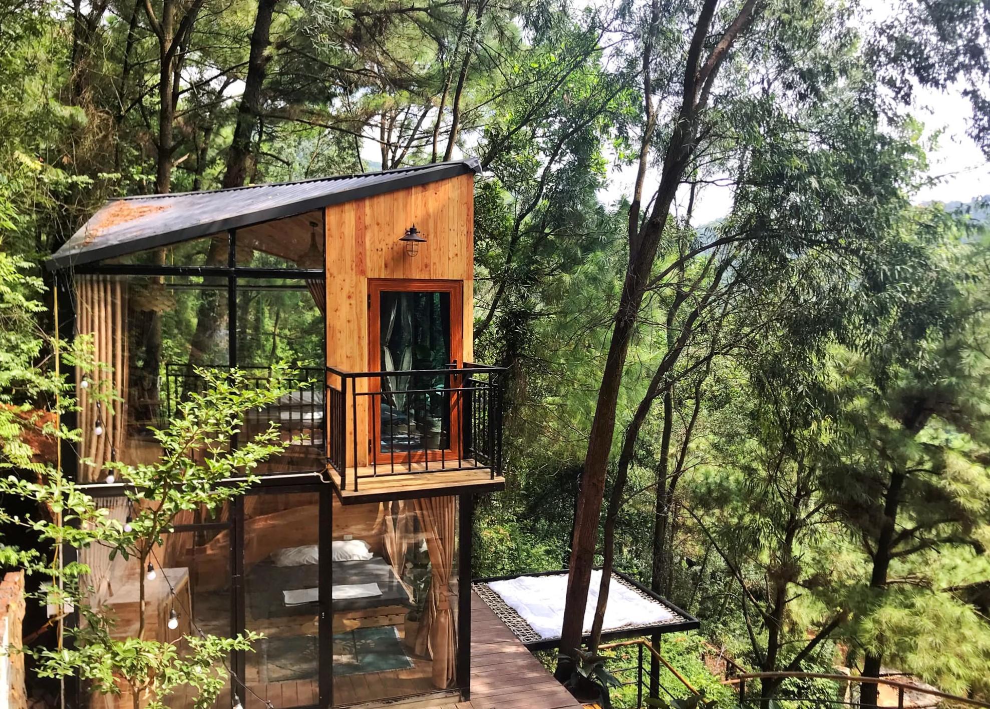 Một căn nhà Gỗ Rừng Thông hai tầng view núi rừng. Khu nghỉ này có giá phòng từ 1,1 đến 6,5 triệu đồng/ đêm tùy loại phòng, số lượng người và thời điểm đặt chỗ. Ảnh: Debay Villa