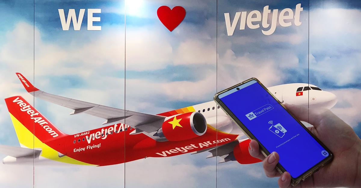 Vietjet là một trong những hãng hàng không tiên phong thử nghiệm IATA Travel Pass. Ảnh: Đức Minh.