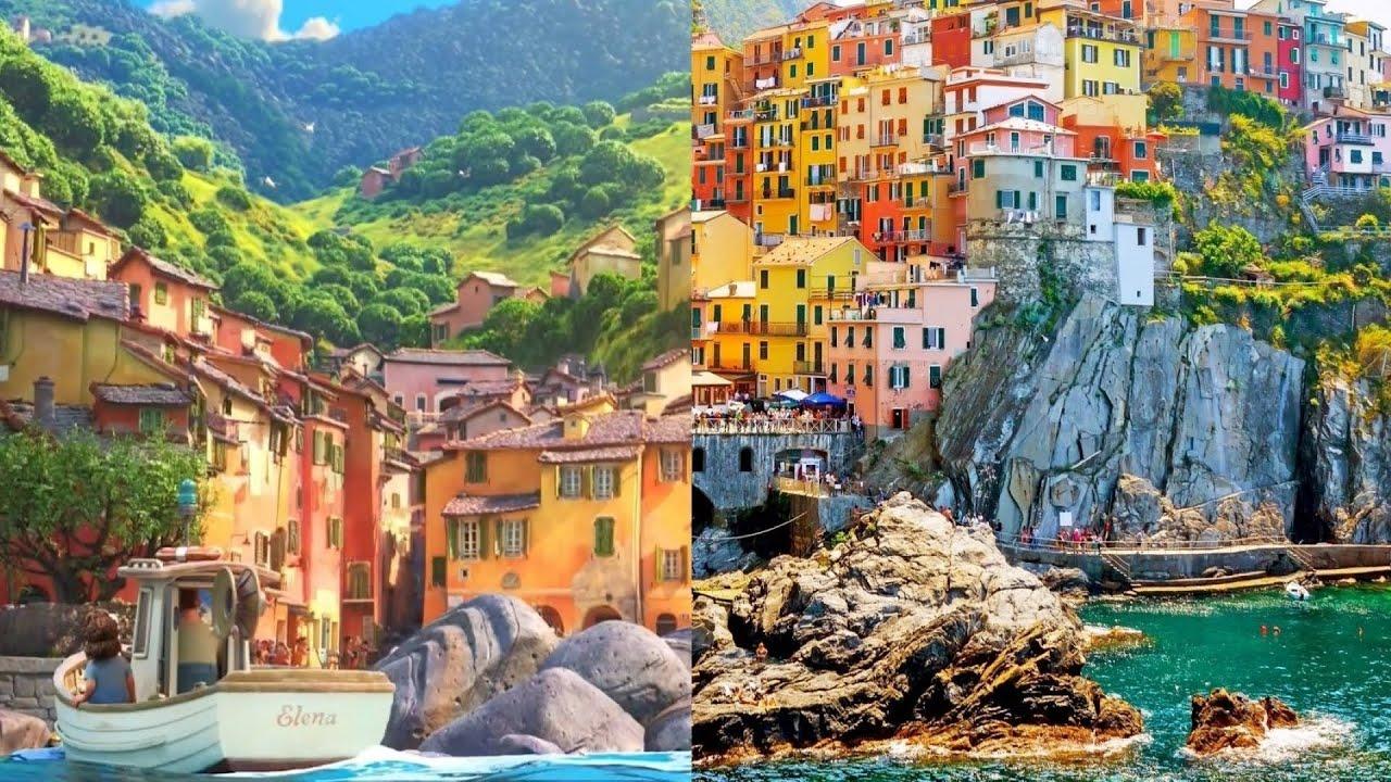 Thị trấn giả tưởng Portorosso (trái) được lấy cảm hứng từ địa danh Cinque Terre (phải). Ảnh: Dreaming Italy Relaxation/Youtube