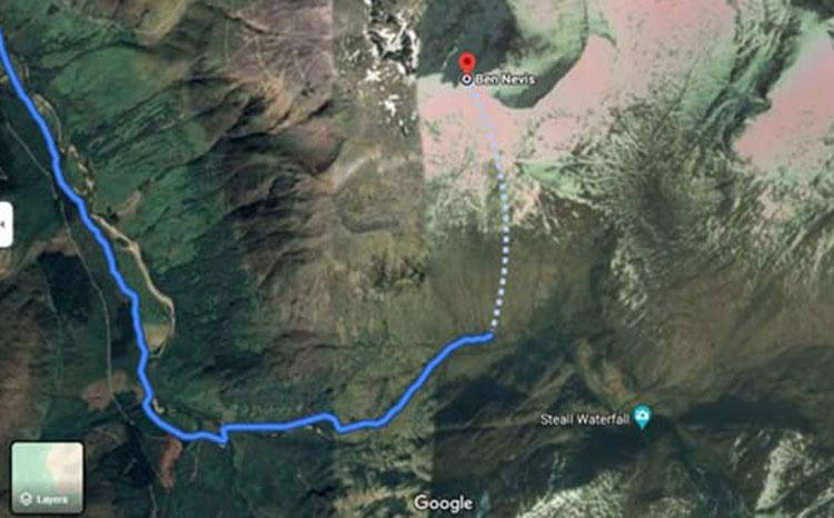 Một tuyến đường Google Maps chỉ cho du khách lên đỉnh Ben Nevis bị chỉ trích là nguy hiểm. Ảnh: Google/Mountaineering Scotland