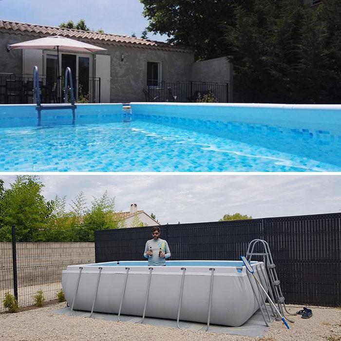 Hình ảnh hồ bơi được quảng cáo trên mạng và trên thực tế khi khách đến nhận phòng. Khách thuê cho biết, trên thực tế chủ nhà không lừa anh vì hai bức ảnh đều là cùng một bể bơi, nhưng khác nhau do góc chụp. Ảnh: Robot_accomplice/Reddit