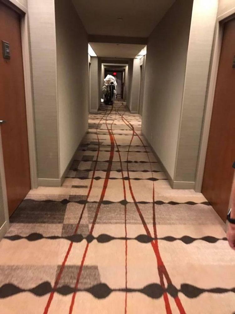 Bức ảnh này sẽ khiến nhiều vị khách là fan của phim kinh dị sẽ nghĩ rằng chiếc xe đẩy chở khăn của khách sạn đang tạo ra các vết máu loang lổ trên thảm. Nhưng đó chỉ là hoa văn trên tấm thảm mà thôi. Ảnh: Nick Coffin/Reddit