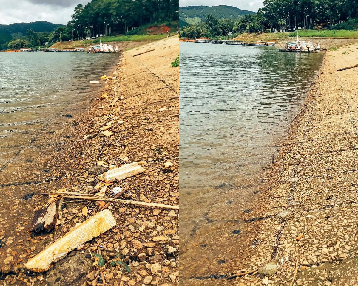 Một đoạn bờ hồ trước và sau khi được vợ chồng Nhím Chúm Chím dọn dẹp. Ảnh: Vũ Công Tuấn