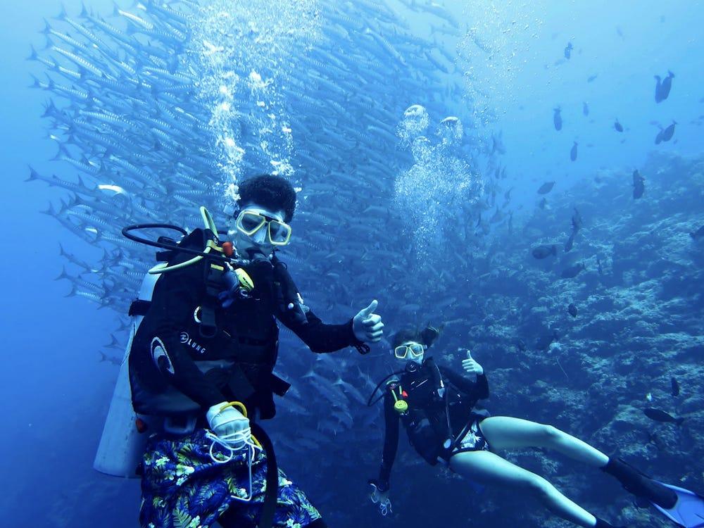 Gia đình Thompson trong chuyến lặn biển ở gần đảo Nabucco, Philippines. Ảnh: Don Thompson