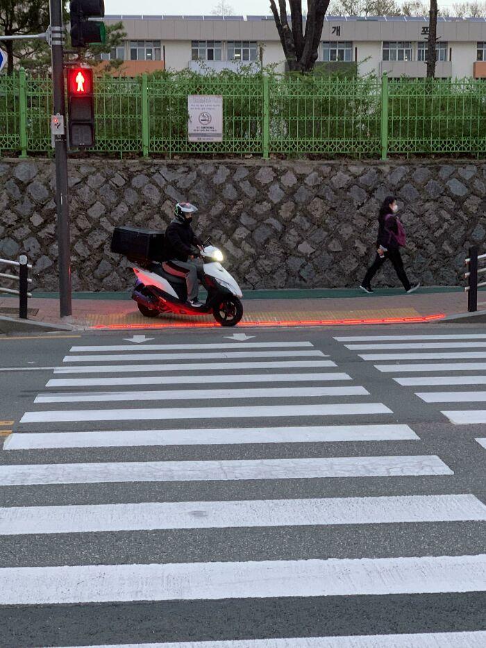 Đèn giao thông được thiết kế dưới mặt đất để phục vụ những người tham gia giao thông vừa đi bộ vừa mải nhìn điện thoại. Ảnh: Reddit