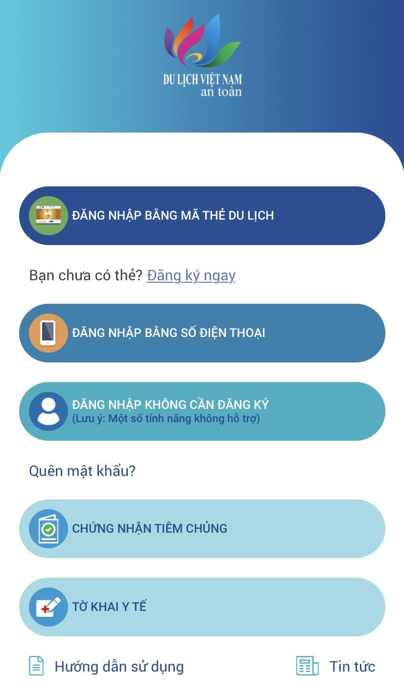 Ứng dụng Du lịch Việt Nam an toàn được Tổng cục Du lịch Việt Nam ra mắt vào tháng 10/2020. Hiện nay ứng dụng tích hợp khai báo y tế, chứng nhận tiêm chủng cho mỗi cá nhân. Ảnh: Lan Hương