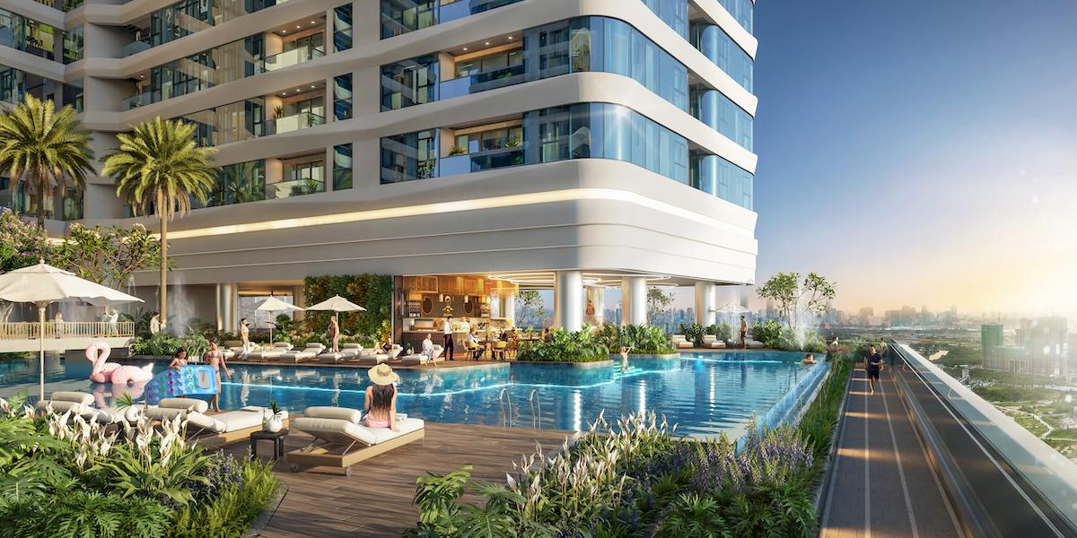 Bể bơi tiêu chuẩn như các resort nghỉ dưỡng tại dự án King Crown Infinity. Ảnh phối cảnh: BCG Land.