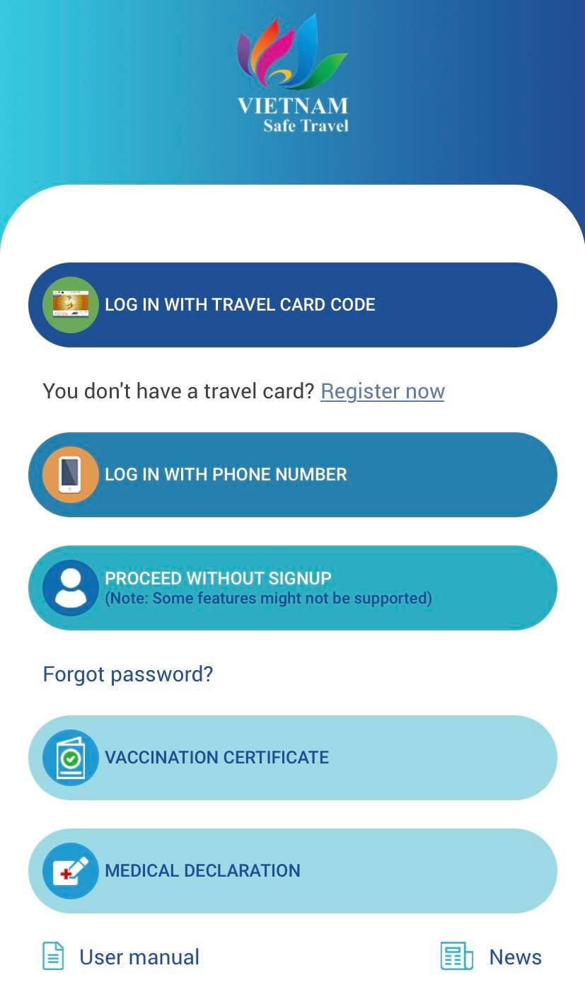 Ứng dụng Du lịch Việt Nam an toàn được Tổng cục Du lịch Việt Nam ra mắt vào tháng 10/2020 (bao gồm phiên bản tiếng Việt và tiếng Anh). Hiện nay ứng dụng tích hợp khai báo y tế, chứng nhận tiêm chủng... cho mỗi cá nhân. Ảnh chụp màn hình
