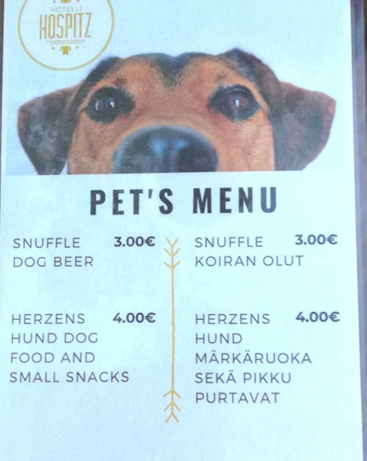 Tại Phần Lan, nhiều nhà hàng, quán cà phê có cả menu phục vụ thú cưng của thực khách.