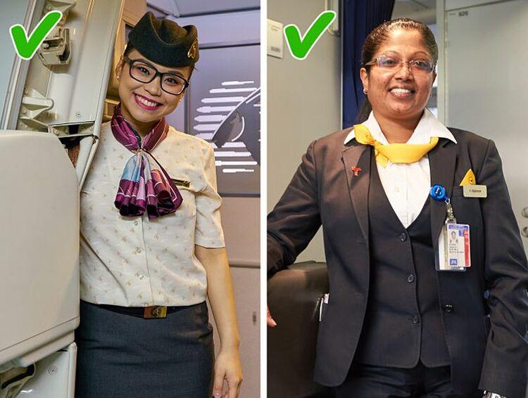 Họ phải có một nụ cười không chê vào đâu được.Nụ cười của tiếp viên là điều đầu tiên hành khách nhìn thấy khi lên máy bay. Vì vậy, răng của họ phải sạch sẽ và ngay ngắn, không có răng bị thiếu. Họ cũng không được phép la hét hoặc dùng các lời lẽ không hay với hành khách. Ở mọi thời điểm, giọng nói của tiếp viên cũng luôn cần hoàn hảo. họ không được phép nói chuyện ồn ào trên máy bay, đặc biệt trong các chuyến bay đêm. Họ cần phải thể hiện mọi hành động một cách chỉn chu nhất.