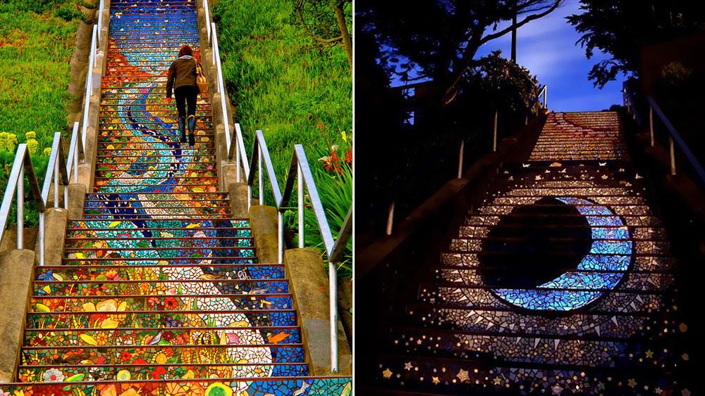 Các bậc thang nổi tiếng của The 16th Avenue Tiled Steps vào ban ngày và đêm. Ảnh: Imgur, tumblr