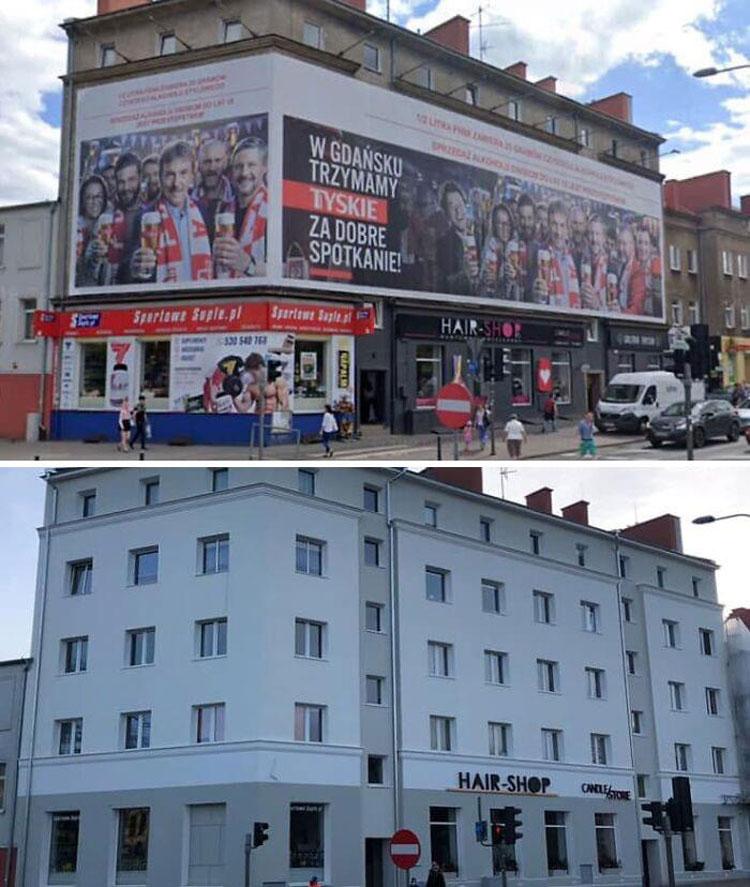 Tại Ba Lan, người dân đang dần thoát khỏi các tấm biển quảng cáo. Và các ngôi nhà nhìn sạch sẽ, dễ chịu hơn nhiều. Một quyết định rất đáng khen ngợi. Các thành phố không nên trông giống như trung tâm thương mại. Việc loại bỏ những thứ chướng mắt này sẽ cải thiện chất lượng cuộc sống. Làm tốt lắm, Ba Lan!, một độc giả có tên WilvanderHeijden ủng hộ.