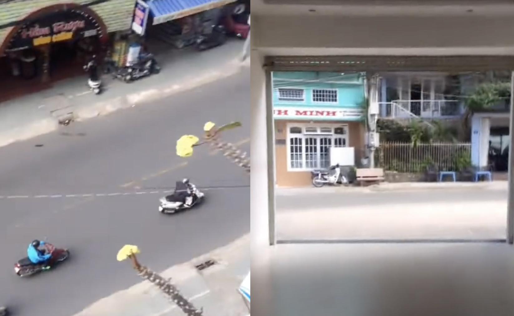 2 tầm nhìn của khách sạn khi đứng trên cùng một tầng. Ảnh: @phuongthuy.14/TikTok