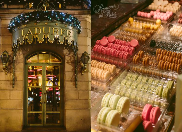 Tại Paris, hai hiệu bánh bán macaron nổi tiếng, được nhiều thực khách nhắc đến là Ladurée và Pierre Hermé. Trên ảnh là hiệu bánh Ladurée. Ảnh: Lamour de paris