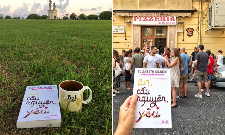 Anh Chương đến Bali (ảnh trái) và Italy để Cầu nguyện và Ăn, theo chân Elizabeth Gilbert. Ảnh: NVCC