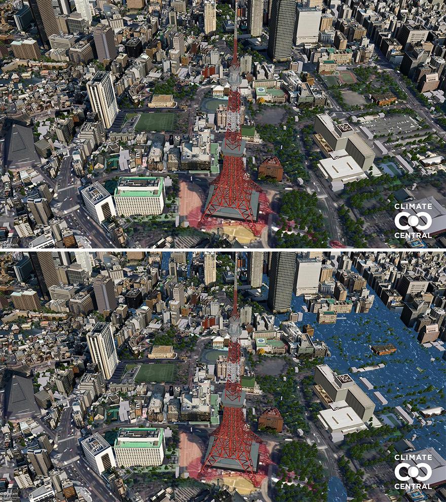 Các nhà nghiên cứu tại Climate Central thực hiện một dự án thay lời cảnh tỉnh tới người dân trên khắp thế giới về việc biến đổi khí hậu ảnh hưởng như thế nào đến cuộc sống của người dân. Do đó, họ bắt tay vào chụp các địa điểm nổi tiếng trên thế giới, những nơi mà bất kỳ du khách nào cũng yêu thích, muốn ghé thăm. Sau đó, họ cho chúng ta thấy những nơi này sẽ trông ra sao vào năm 2050, khi sự biến đổi về khí hậu tiếp tục xấu đi. Trên ảnh là tháp Tokyo, Tokyo, Nhật Bản của hiện tại và trong tương lai, khi mực nước biển dâng cao. Ảnh: Climate Central