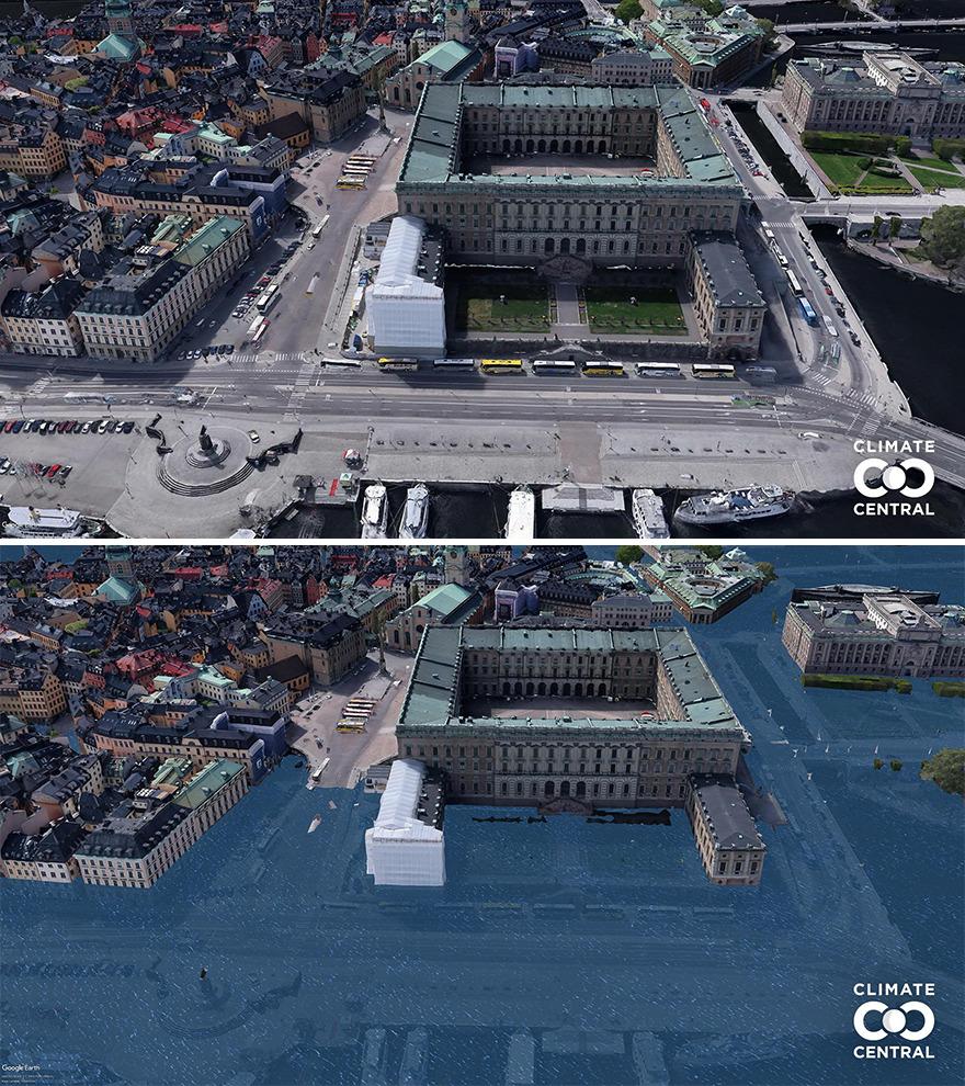 Dòng triều cường cũng có thể đang đe dọa nhấn chìm 15% diện tích đất ở của người dân toàn cầu. Điều đó tương đương với khoảng 1 tỷ dân trong tương lai sẽ mất chỗ ở. Trên ảnh là Cung điện hoàng gia Royal Palace, Stockholm, Thụy Điển. Ảnh: Climate Central