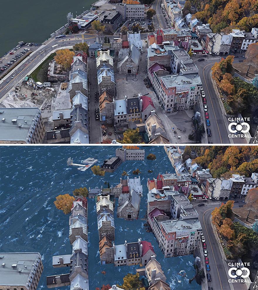 Trên ảnh là Place Royale, thành phố Quebec City, Canada của hiện tại và dự đoán của tương lai. Ảnh: Climate Central