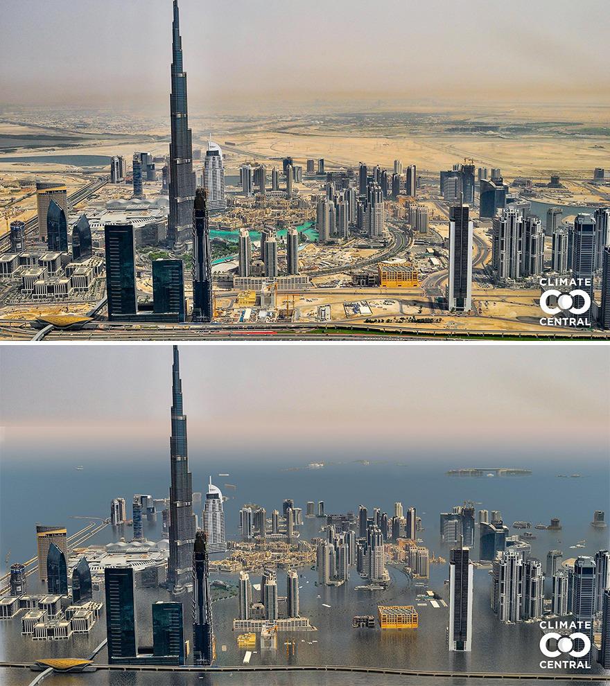 Các nhà khoa học cũng chỉ ra rằng, ít nhất 50 thành phố lớn, chủ yếu ở châu Á, sẽ phải có các biện pháp để bảo vệ môi trường sống của mình. Nếu không, họ phải đối mặt với các tổn thất lớn như mất một phần diện tích đất, hoặc toàn bộ vì nước biển. Trên ảnh là tòa tháp Burj Khalifa, Dubai, UAE. Ảnh: Climate Central