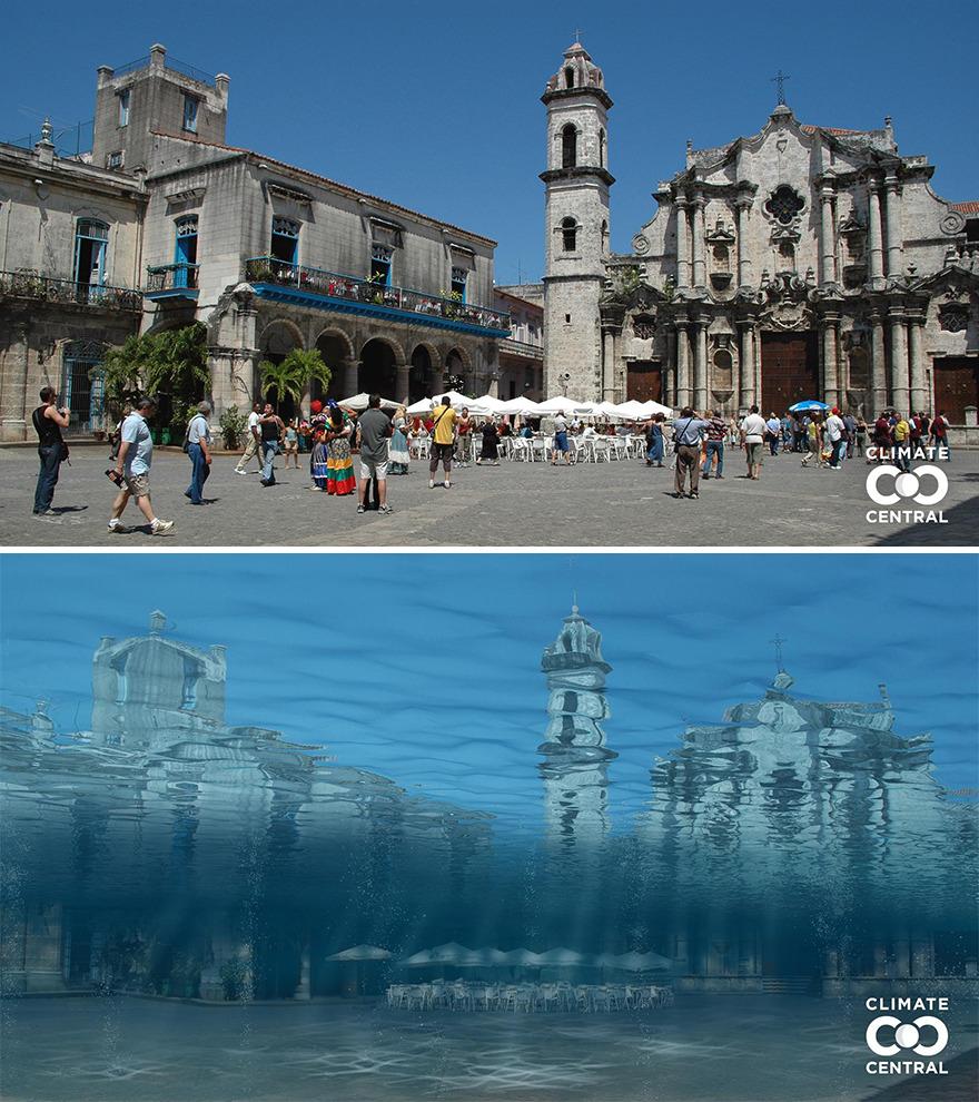 Biến đổi khí hậu là một trong những vấn đề được nhiều người quan tâm nhất hiện nay. Trái đất đang nóng lên, và trong tương lai có thể làm tan chảy tất cả băng trên hành tinh, khiến mực nước biển dâng lên. Và điều đó đồng nghĩa với việc nhiều thành phố sẽ bị bao phủ trong nước biển. Trong ảnh là Plaza De La Catedral tại thủ đô La Havana, Cuba. Ảnh: Climate Central