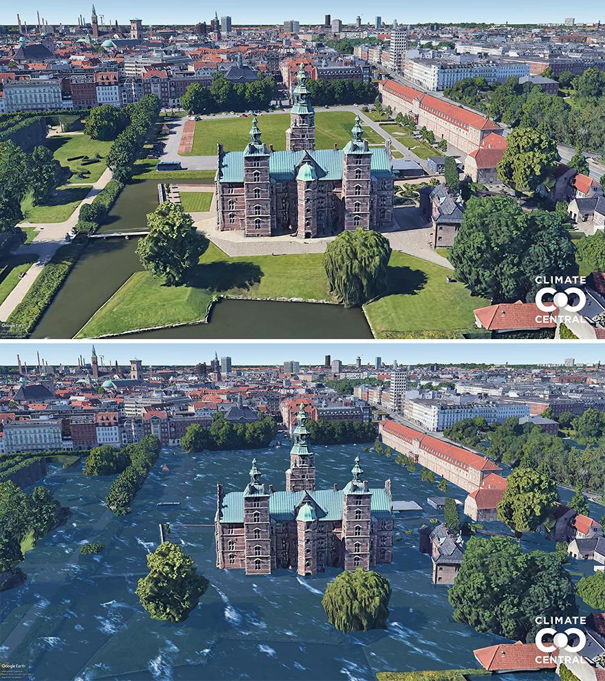 Qua dự án này, các nhà khoa học muốn gửi thông điệp rằng nếu chúng ta không làm bất cứ điều gì, chỉ trong 30 năm nữa chúng ta sẽ nhận kết quả tàn khốc. Trên ảnh là lâu đài Rosenborg, Copenhagen, Đan Mạch hiện tại và tương lai ngập trong nước biển nếu trái đất tiếp tục nóng lên. Ảnh: Climate Central