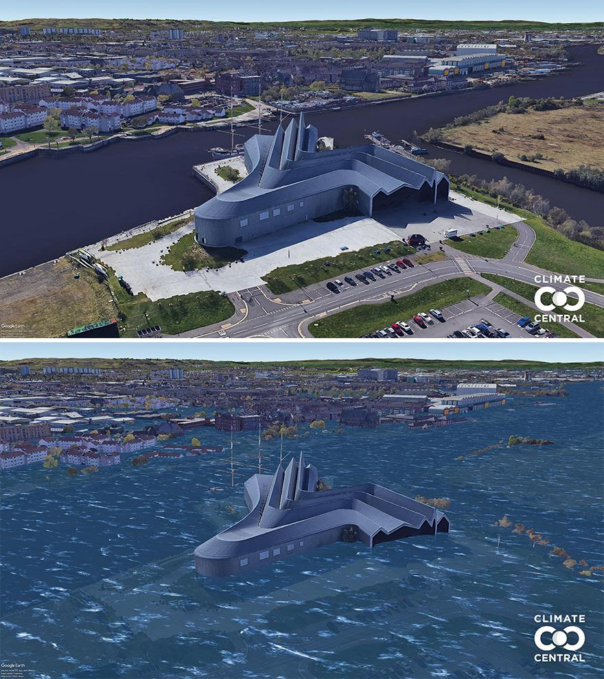 Trên ảnh là Bảo tàng Riverside ở Glasgow, Anh. Ảnh: Climate Central